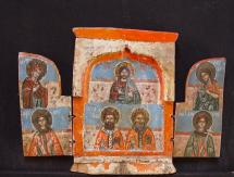 Triptich with Deesis, 1700, Greek,  tempera on wooden board, size 31 x 21 cm, price € 1300,-.   At the left wing of the icon Mother of God, in the mid wing Christ and at the right wing Saint John the Baptist. Furthermore Saints and Hierarchs. Condition: authentic icon with restored wings. The authenticity of every icon is guaranteed. Every icon is sold with extensive written expertise